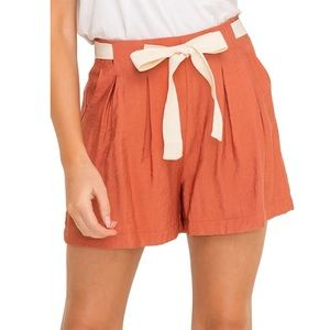 All in Favor Front Tie Pleated Shorts Terracotta